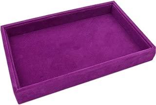 Velvet Jewelry Ring Cufflinks Showcase Storage Display Case Organizer Tray Earring Showcase Box (Tray (Purple))