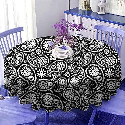 Schwarz und Weiß Runde Tischdecke Nostalgie Paisley Tropfen Motive mit Blumen Persische Kultur und Kunst Festival Durchmesser 170,2 cm Schwarz Weiß