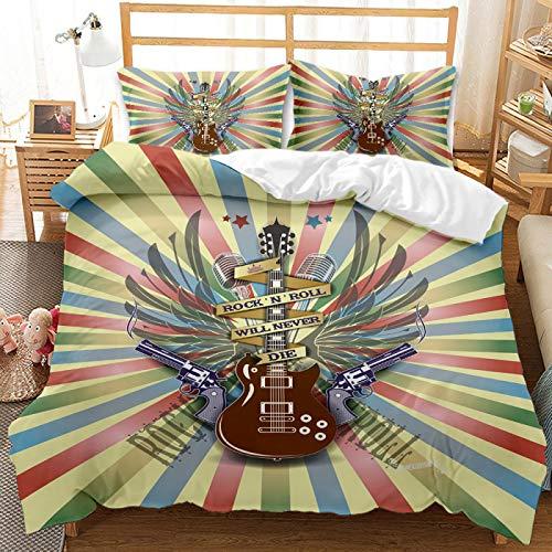 QXbecky Rock Skull Series Halloween 3D Bedding Soft Microfiber Quilt Cover Pillowcase 2, 3-Piece Set ofTwin beds