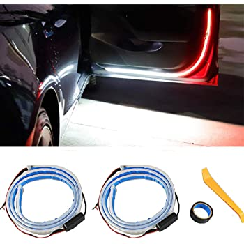 48 Inch 144 LEDs Built-in Decoding Driver Dual Color Flowing Strobe Flashing Safety Interior Car Door Lights for Anti rear-end Collision (White /& Red) 2pcs Car Door Open Warning LED Strip Light