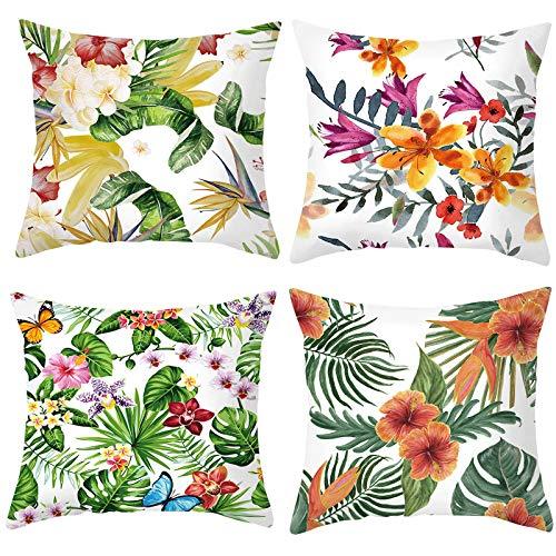 QBV Tropical Leavesthrow Funda de Almohada Funda de Almohada Decorativa Funda de cojín Cuadrada para Exteriores Funda de Almohada para sofá Cama de Coche Sofá (18'X18)