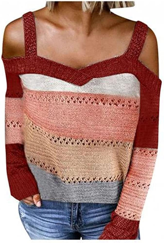 NP Women Autumn Winter Sweater Long Sleeve Cold Shoulder Knitted Sweater Strappy