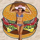 Baffect Gasa y Poliéster 150 * 150 cm de la toalla de playa Beach Blanket redonda circular Mantel algodón toalla de playa de picnic Mat (hamburguesa)