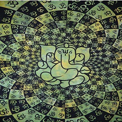 Tagesdecke indische Elefantengottheit Om grün Baumwolle Decke Wandbehang Überwurf