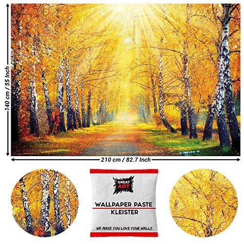 Great Art, fotobehang, gouden herfst, berken 210 x 140 cm - 5 Teile + Kleister Herbst