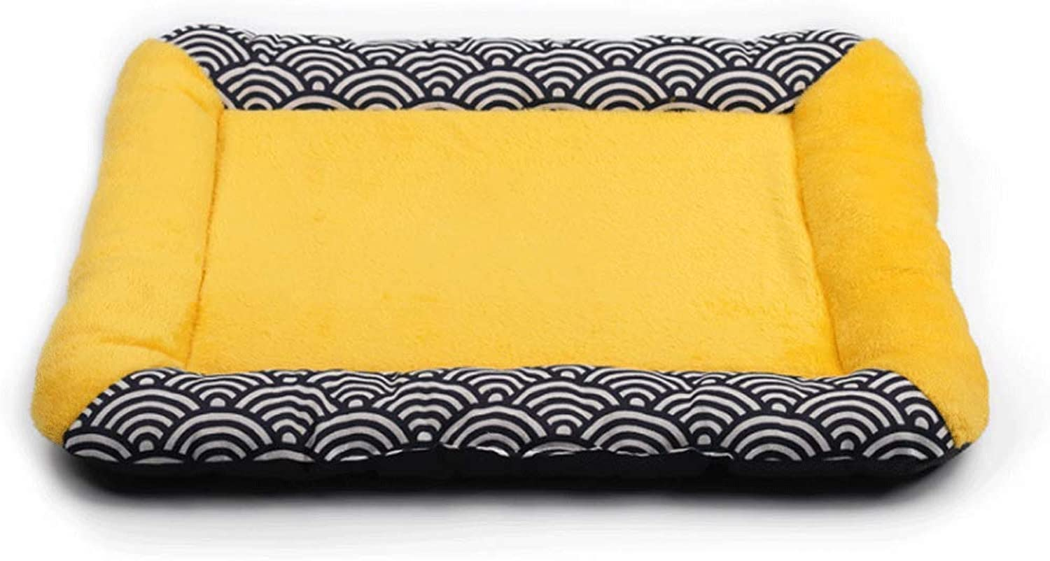 Pet Bed Classic Square and Wind Design Pet Pad Water Ripple Dog Pad NonSlip Four Seasons Universal Cat Litter Dog Pad A+ (color   Yellow, Size   S (52X41CM))