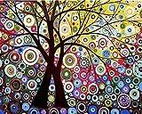 Pintura por números para adultos niños, pintura al óleo DIY, kits de pinceles, pintura para decoración de la pared del hogar WM-1107-Árbol abstracto del sol