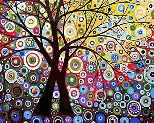 DQCY Árbol de Sol Pintar por número Imagen Lienzo Pintura Colorear por números-40x50cm