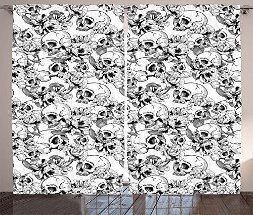 ABAKUHAUS Feier Rustikaler Gardine, Skizzieren Sie Totenkopf, Schlafzimmer Kräuselband Vorhang mit Schlaufen und Haken, 280 x 175 cm, Weiß und Schwarz