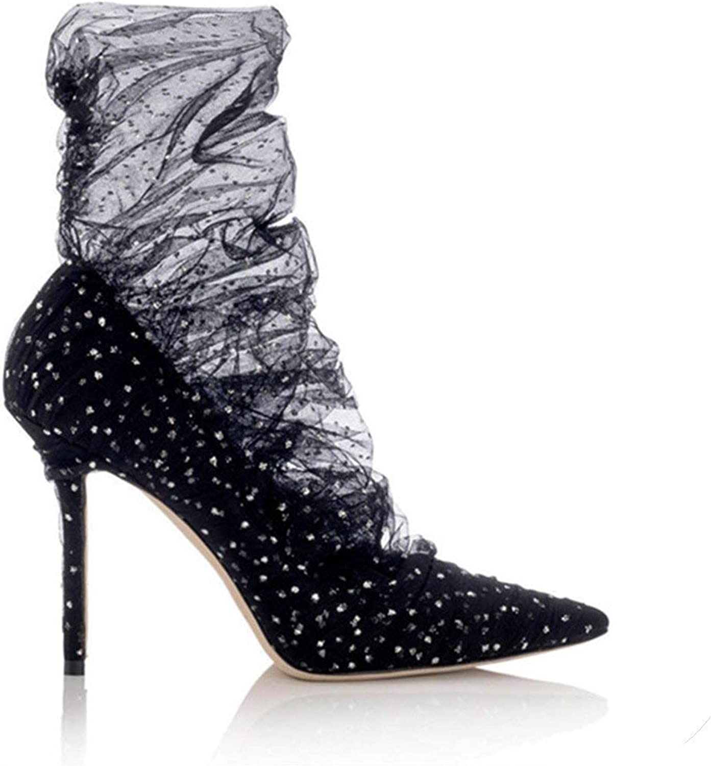 The Hot Rock-sandals Sexy Lace Women Pumps Wedding Dress shoes Woman Pointed Toe 9CM High Heels Ladies Stiletto Ankle Boots Valentine shoes