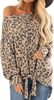 Aniywn Women Leopard Print Long Sleeve T Shirt Casual Loose Knotted Hem Tops Blouse