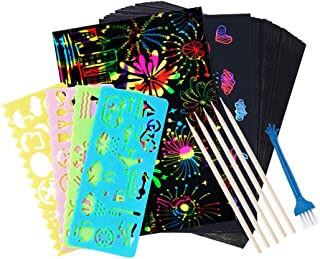 50 PCS Rainbow Magic Scratch Paper for Kids Black Scratch Off Art Crafts Notes Boards Sheet , with 5 Wooden Stylus 4 Drawi...