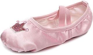 VCIXXVCE Chaussons de Ballet Chaussures de Ballet en Satin Couronne à Paillettes pour Filles/Tout-Petits/Petites Filles