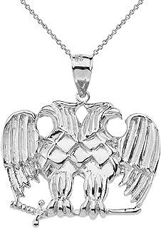Solid 14k White Gold Double Headed Eagle Masonic Pendant Necklace