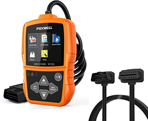 wholesale FOXWELL online sale NT201 Obd2 Scanner and FOXWELL OBD2 lowest 16Pin Male to Female Extension Convert Cable online