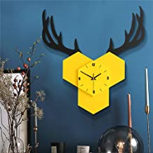 Wall Clock Living Room Decorative Wall Clock Watch Personalized Antlers Wooden Household Clocks (54 * 62CM) LJJCUICAN
