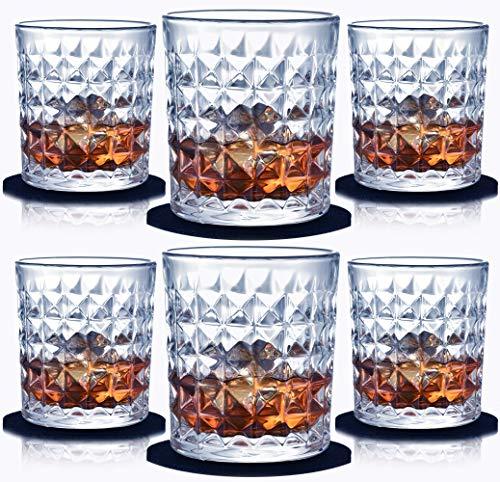 Juego de 6 Vasos de Whisky-sin Plomo Vasos de Cristal Whiskey Set Transparente Drinking Cup300ml con Posavasos y Caja