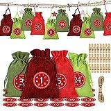 O-Kinee Calendario Adviento Navidad, 24 Bolsas Calendario de