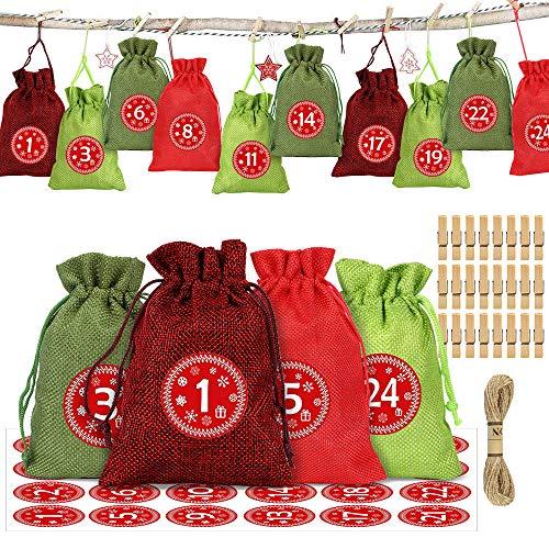 Adventskalender zum Befüllen Stoff, 24 Weihnachtskalender Stoffsäckchen zum Selberfüllen, mit Adventszahlen Aufkleber für Kinder Adventskalender DIY Dekorieren (Rot)
