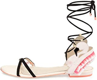 EARIAL& Summer Mixed Colors Floral Sandles Lace Up Stiletto High Heels Ladies Gladiator