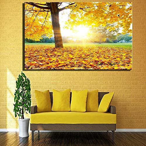 Schöne Sonnenaufgang Landschaft Wohnzimmer Dekoration Malerei Leinwand Malerei gelb warme Farbe Sonnenaufgang Ansicht am frühen Morgen und Poster rahmenlose Malerei 52cmX70cm