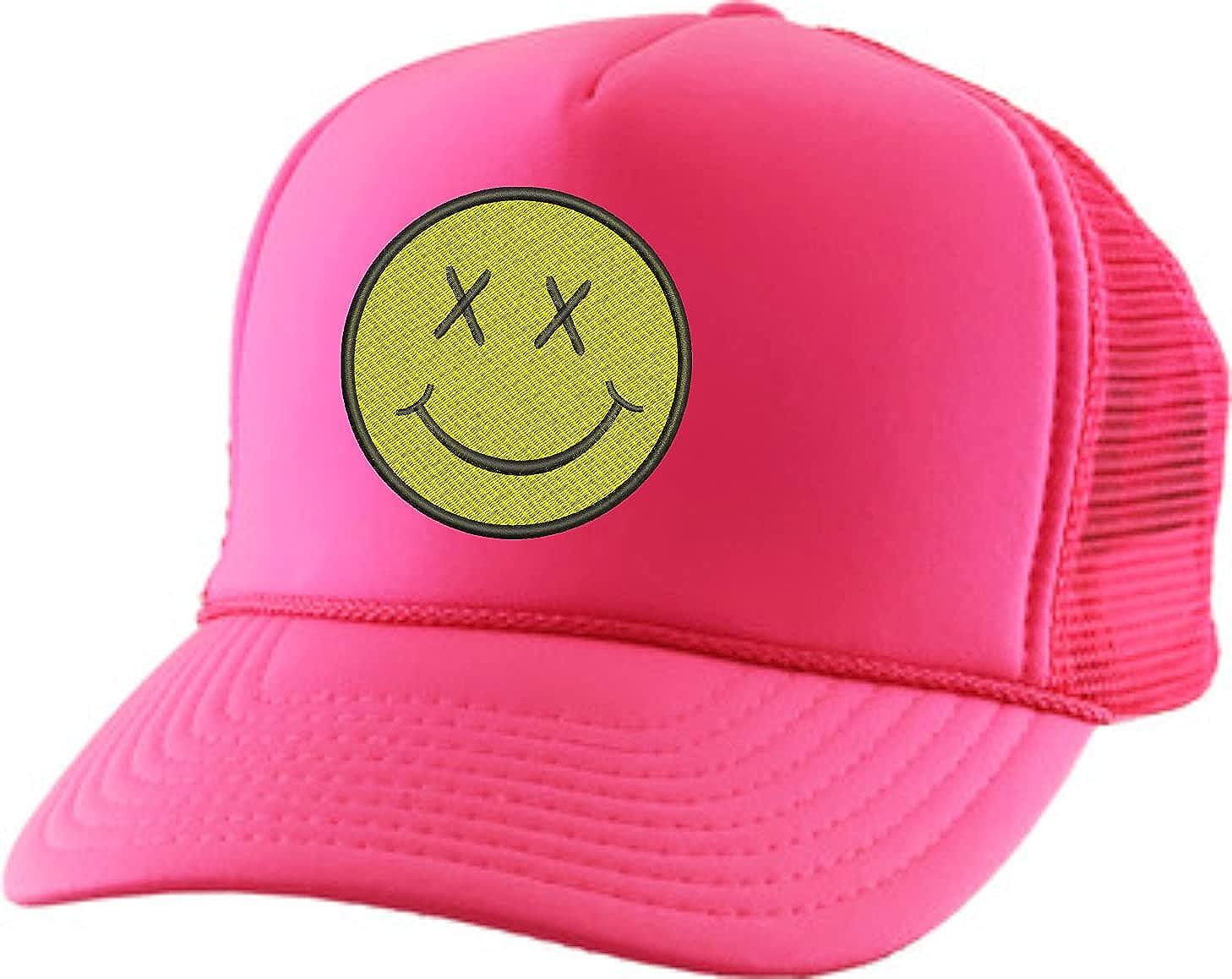 ALLNTRENDS Adult Trucker Hat Smiley Face Embroidered Baseball Cap Adjustable Snapback
