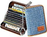 FurArt Kreditkartenetui für Damen und Herren, RFID Schutz, 14 Fächer,Schlüsselanhänger,Reißverschlussetui