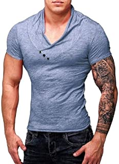 Howely Men Basic Oversized Deep V Neck Tee Muscle Slim Fit Sexy Top T Shirt