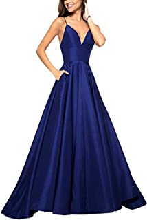 Women's Spaghetti Strap V Neck Prom Dress Long A-line Evening Ball Gown W/ Pockets