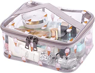 LOUISE MAELYS Clear Travel Make Up Storage Bag with Fresh Pattern Waterproof & Top Handle, Large