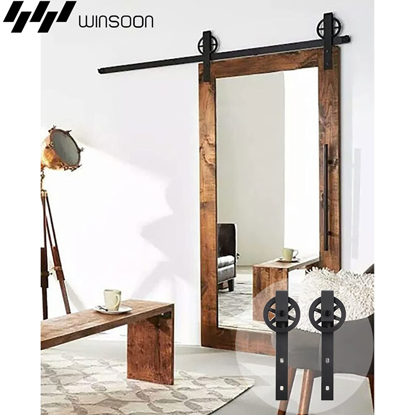 WINSOON Sliding Barn Door Hardware 17ft Track Single Door Kit Low Ceiling for Window Cabinet TV Stand, I Shape Hooks