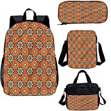 Juego de mochila para adolescentes de 15 pulgadas, ocho estrellas de punta mosaico, juego de bolsas escolares para trabajo, escuela, viajes, picnic