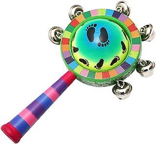 Bebé Sonajero de madera Colorido Jingle Bells Stick Shaker Niños Niños Juguetes musicales Instrumento musical con mango de madera (patrón aleatorio)