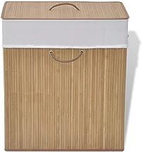 vidaXL Laundry Basket Bamboo Natural Colour Clothes Storage Bin Washing Hamper