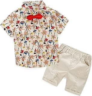 tommelise Boys Clothing Short Sets 2Pcs Plaid Shirt Button-Down Tops and Casual Short Pants