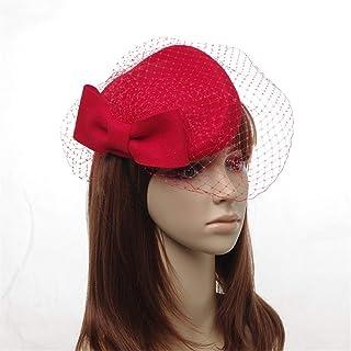 ZOO ベールウールは女性のための広いつばのリボン弓フロッピー帽子の山高帽を感じました (色 : 赤)