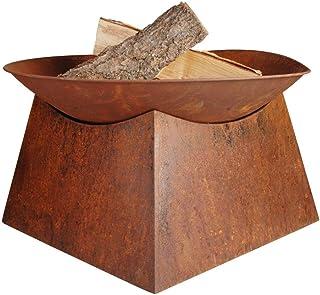 Esschert Design Feuerschale, Feuerstelle auf Sockel, Rostbraun, Durchmesser 57 cm x 33 cm hoch