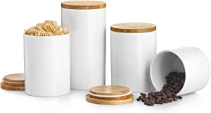 Kitchen Canister Sets For Kitchen Counter, BEYONDA White Ceramic Kitchen Canisters Set Of 4, Airtight Food Storage Ceramic Jar With Wooden Lid, Portable Coffee Canister For Tea, Sugar, Ground Coffee, Spices