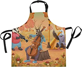 AHOMY Adjustable Apron with Pocket Musician Animals Forest Extra Long Ties, 27.5 x 29