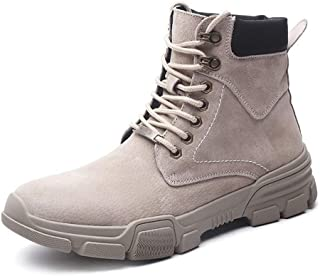 JIANFEI LIANG Men's Retro Ankle Boots Combat Boot Lace up Genuine Leather Round Toe Platform Contrast Collar Anti-slip Work or Casual Wear(Fleece Inside Optional) (Color : Grey, Size : 43 EU)
