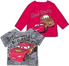CARS Boys Lightning McQueen Shirts - 2 Pack of Disney Lightning McQueen Tees- 1 Short Sleeve and 1 Long Sleeve tee
