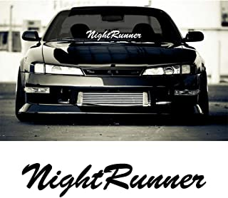 2X Night Runner Windshield Banner Decal Sticker (BLACK)