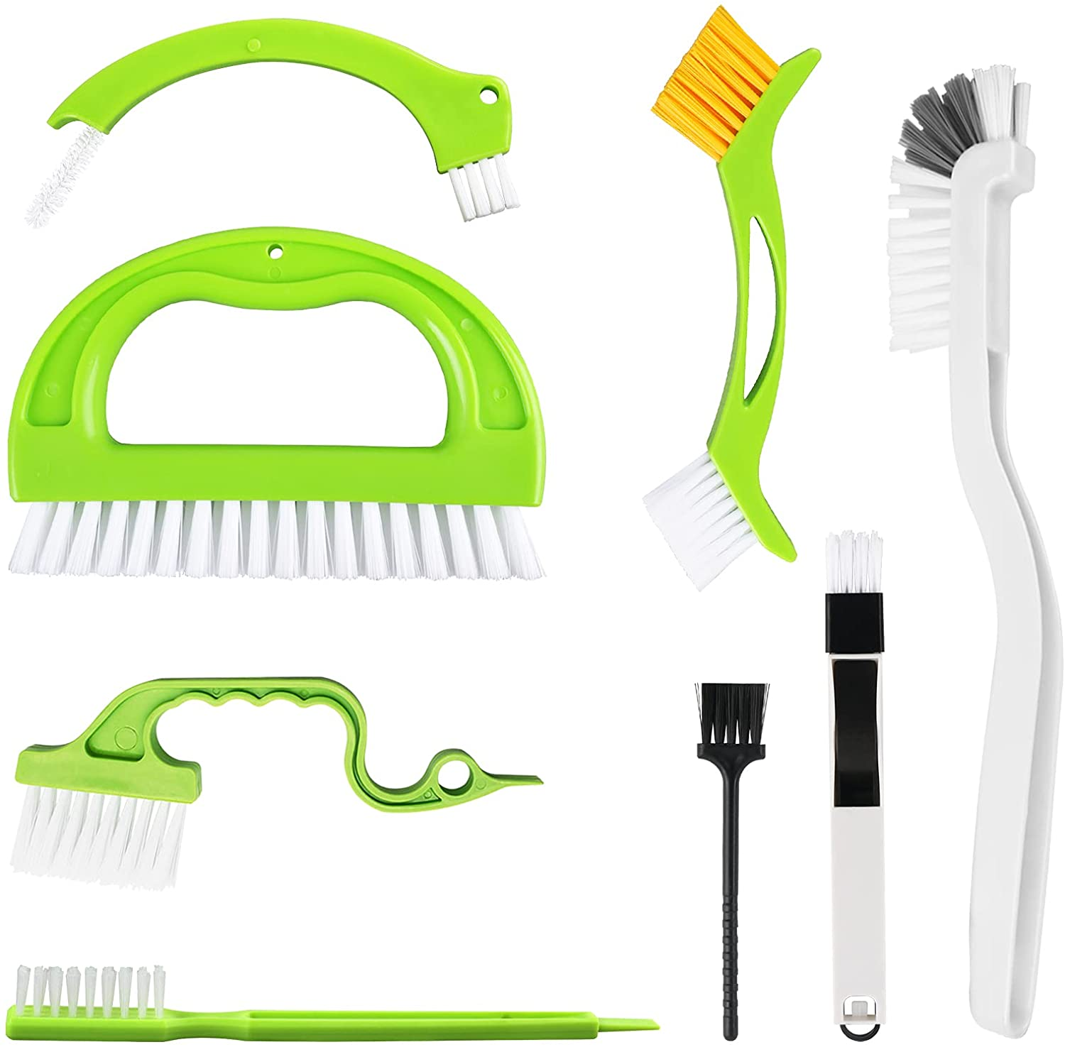 8 Pack Grout Cleaner Brush, Hand-held Groove Gap Cleaning Tools Tile Joint Scrub Brush to Deep Clean, Household Cleaning Brushes for Window Door Track, Stove Tops, Shower, Kitchen, Seams, Floor Lines