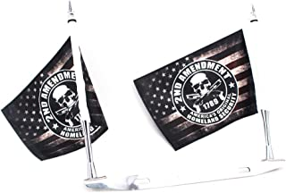 GUAIMI License Plate Mounted Double Flag Holder Double Motorcycle Flags (2x 2nd Amendment Flag)