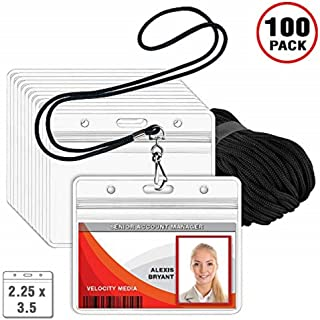 MIFFLIN Lanyard (Black, 2.25x3.5 Inch, 100 Pack) with Clear Plastic Horizontal ID Badge Holder, Heavy Duty Pouch with Soft, Woven, Neck Lanyards