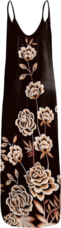 Women Maxi Dresses Sling Sleeveless Loose Casual Summer Beach Dress with Pocket
