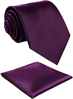 Fortunatever Classical Mens Solid Color Neckties+Pocket Square,Handmade Tie For Men With Gift Box