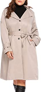 INVOLAND Plus Size Womens Single Breasted Long Trench Coat ...
