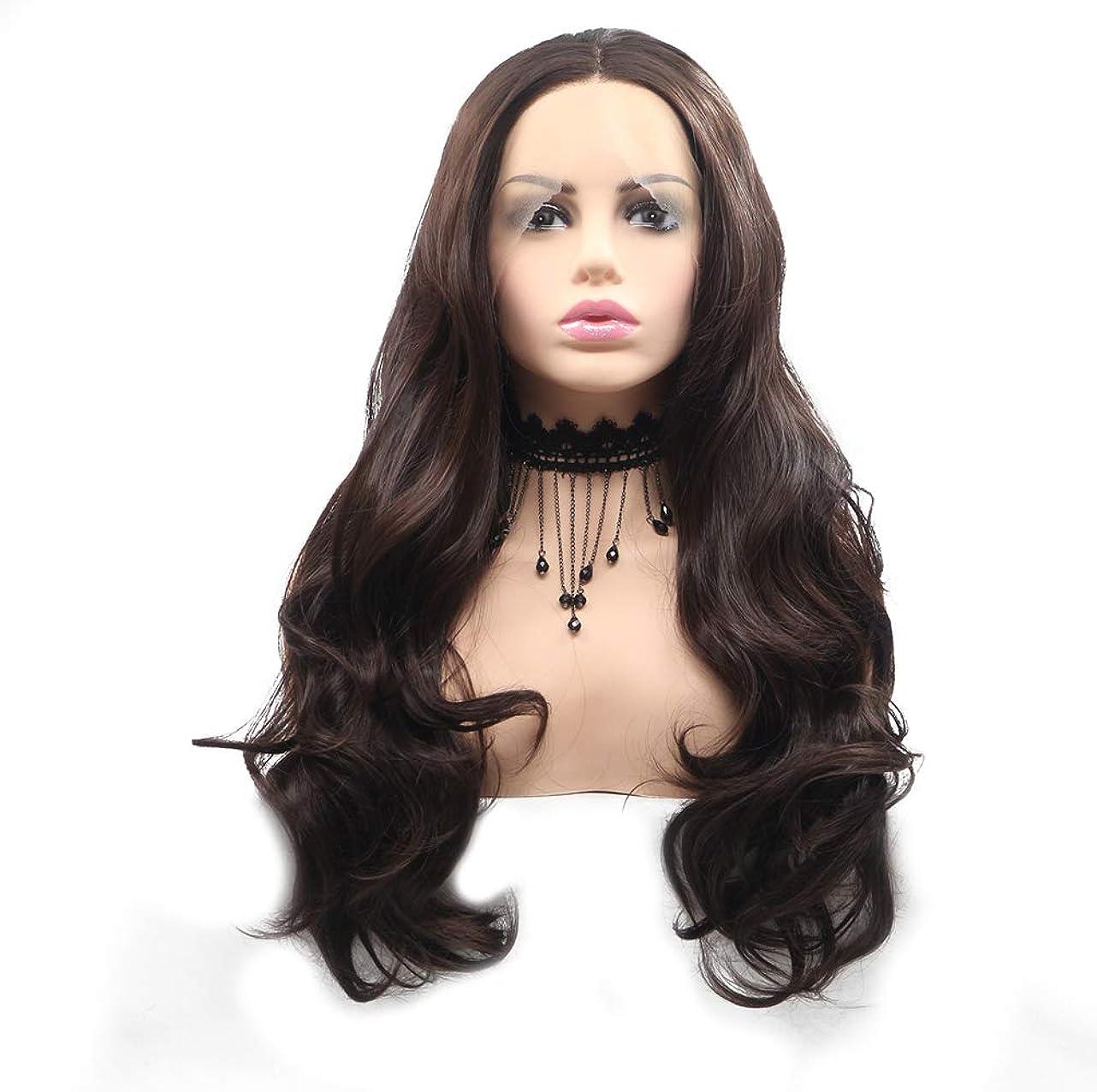 警告リム服かつら女性レースフロントの実体波ブラジルのかつらで赤ん坊の髪の漂白された結び目自然な生え際ブラウン24インチ