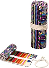 Canvas Colored Pencil Roll Wrap,24/48 Holes Adult Coloring Pencil Roll Up Case Travel Pen Bag Holder Organizer Storage Pouch for Artist, School, Office